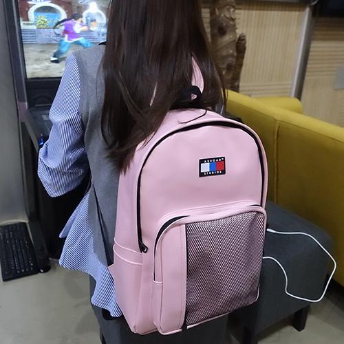 [에이비로드] 시그니처 클래식 USB 백팩 (pink) 백팩