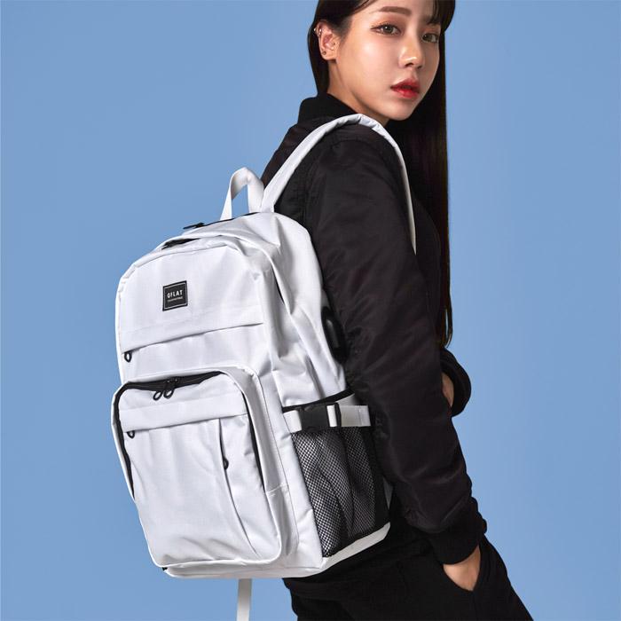 [단독판매][지플랫] USB포트 키젤 백팩 (WHITE) 가방