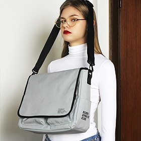 [피스메이커]PIECE MAKER - SSC MAIL MESSENGER BAG (MELANGE GREY) 메일백 메신저백 가방