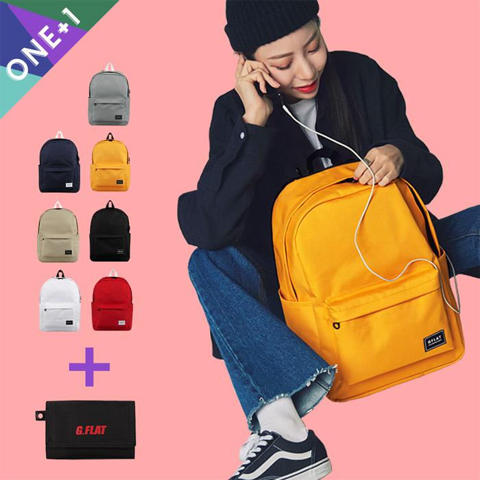 [1+1][지플랫] USB 윈드런 백팩(7 COLORS) + 렌야드 지갑