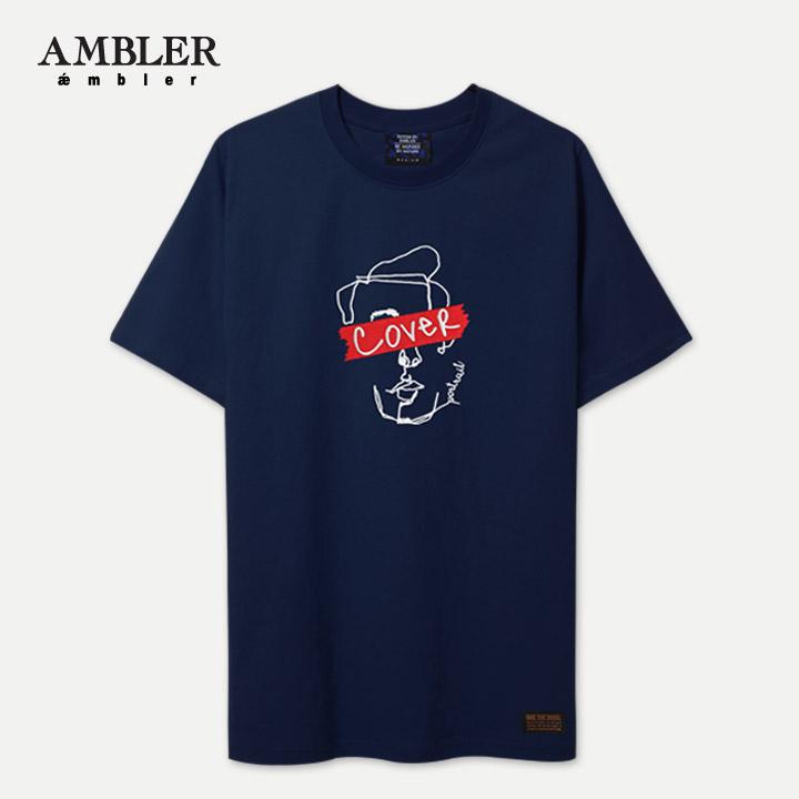 [엠블러]AMBLER 신상 자수 반팔 티셔츠 AS505-네이비