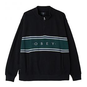 [오베이]OBEY - PALISADE MOCK NECK ZIP SWEATSHIRT CREW (BLACK) 하프집업 블록 스��셔츠 맨투맨 크루넥