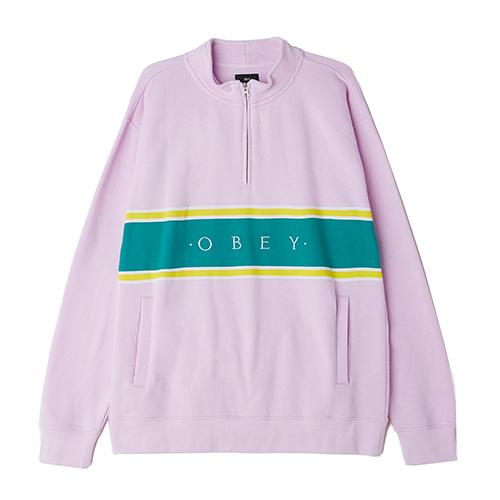 [오베이]OBEY - PALISADE MOCK NECK ZIP SWEATSHIRT CREW (PINK) 하프집업 블록 스��셔츠 맨투맨 크루넥