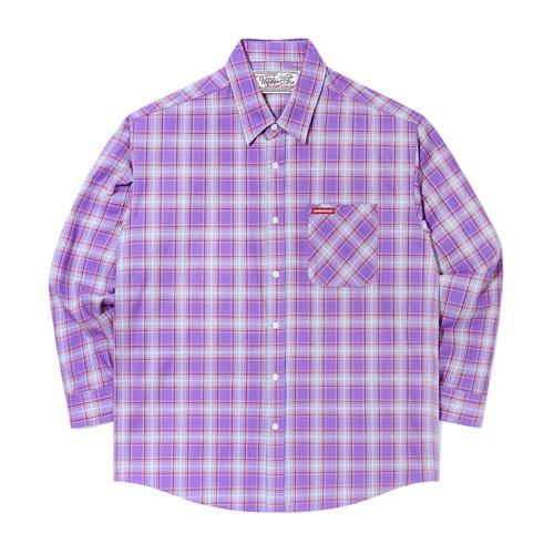 [언더에어]Puppy Love Shirts - Purple 체크셔츠 남방
