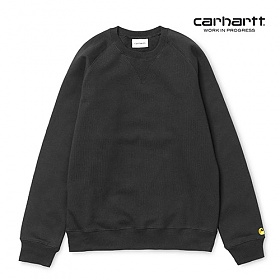 [칼하트WIP] CARHARTT WIP - Chase Sweatshirt (Black / Gold) 도톰 기모 무지 체이스 스��셔츠 맨투맨 크루넥