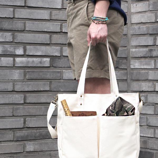 [모노노] MONONO - Super Oxford 6 Pocket 3 Way Bag - Ivory 캔버스 숄더백 토트백