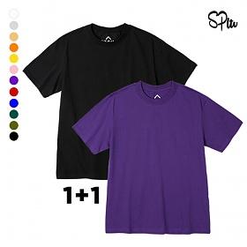 [1+1]슈퍼레이티브 - BASIC SHORT T-SHIRT - 무지반팔 - 12컬러