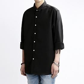 [쟈니웨스트] JHONNYWEST - Rollcut Linen Shirts (Black) 린넨셔츠 남방