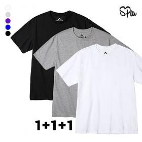 [3 SET]슈퍼레이티브 - BASIC SHORT T-SHIRT - 무지반팔 - 5컬러