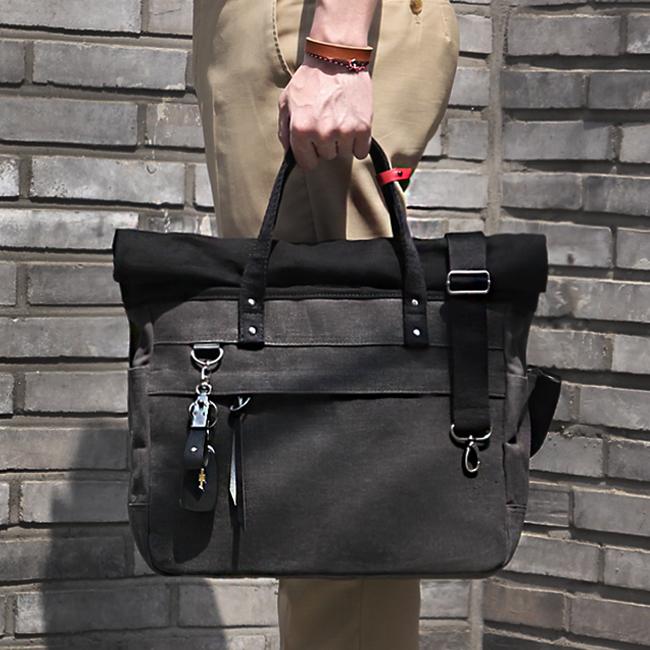 [모노노]MONONO - Roll Up 3 Way Bag Wax Canvas (Charcoal) 왁스캔버스 브리프케이스