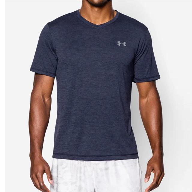 [언더아머] 기능성 V넥 로고 반팔 티셔츠 1253534 410 네이비 남녀공용 UnderArmour 정품 국내배송