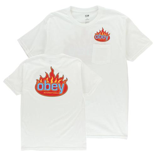 [오베이]OBEY - OBEY FLAME INTERNATIONAL T-SHIRT (WHITE) 불꽃 반팔티 티셔츠