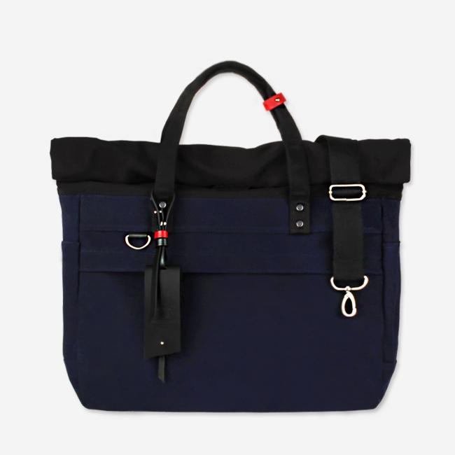[모노노]MONONO - Roll Up 3 Way Bag Super Oxford (Navy) 토트백