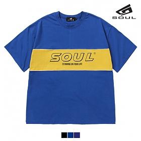 [다소울] SOUL 배색 파이핑 반팔 - 3color