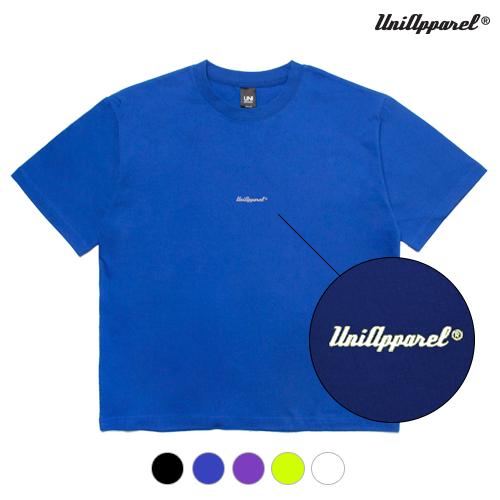 [유니어패럴] 16수 스카치로고 오버핏 반팔티 블루