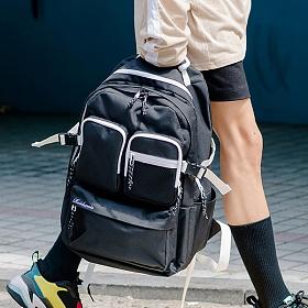 [로아드로아] HUSH BACKPACK (BLACK) 허쉬백팩 투포켓 PVC 학생가방 신학기