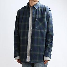 [쟈니웨스트] JHONNYWEST - Deep Check Over Shirts (Navy/Green) 체크 긴팔셔츠 남방
