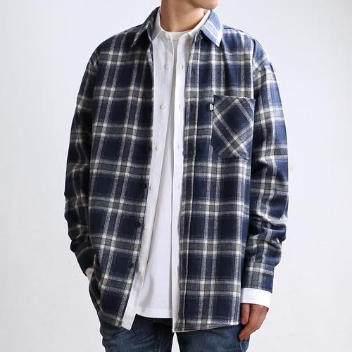 [쟈니웨스트] JHONNYWEST - Deep Check Over Shirts (Cream/Blue) 체크 긴팔셔츠 남방