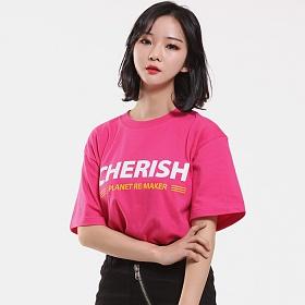 [플래닛리메이커][UNISEX] CHERISH 루즈핏 반팔티 (핫핑크)