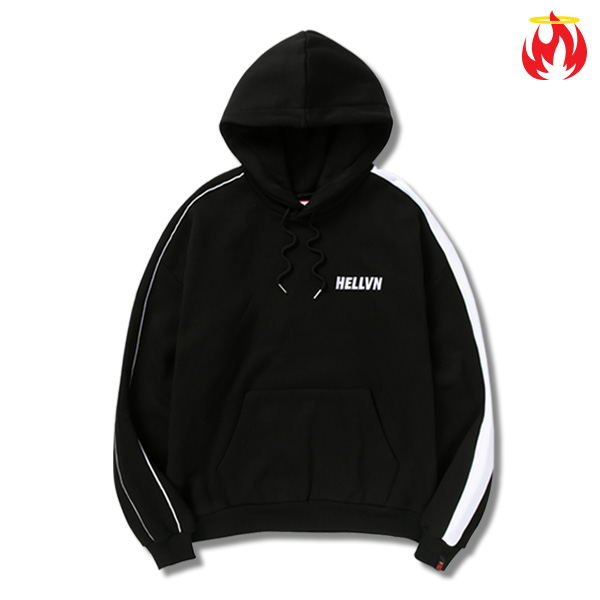 Keyring Piping Line Hellvn Hoody shirts - Black - 파이핑후드 헬븐