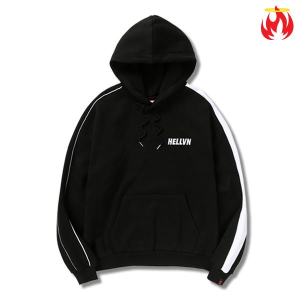Keyring Piping Line Hellvn Hoody shirts - Black - 파이핑후드 헬븐