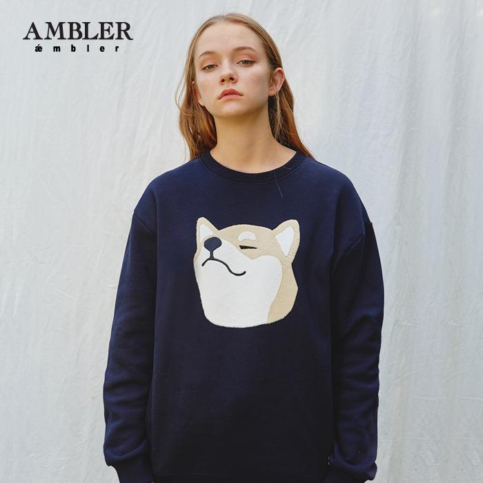 [엠블러]AMBLER CLASSIC 신상 자수 프린팅 맨투맨 티셔츠 AMM604-네이비 크루넥 세미오버핏
