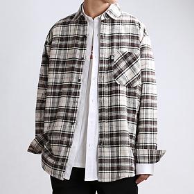 [쟈니웨스트] JHONNYWEST - Warm CHK Overfit (Cream/Brown) 체크셔츠 남방