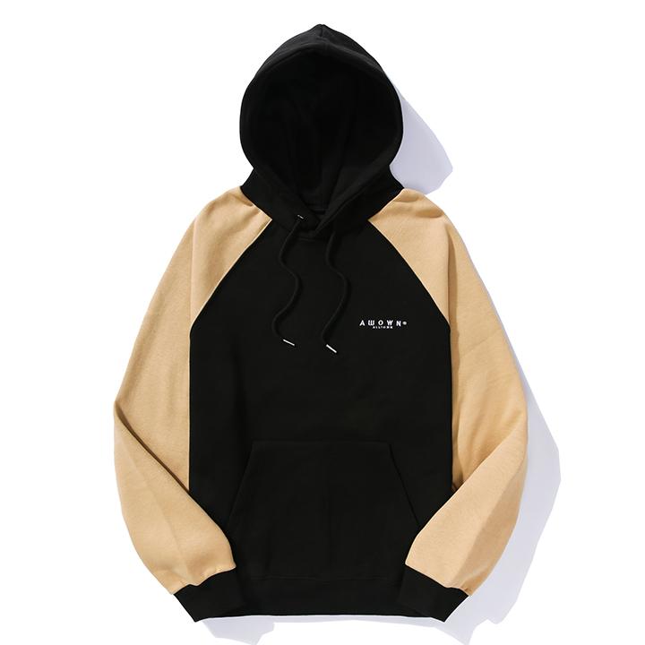 올라온 - Raglan Color Hood - Black/Beige 후드