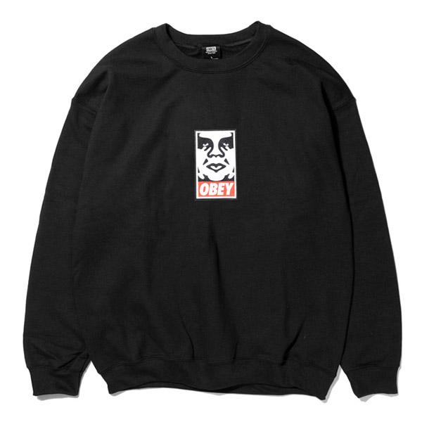 [오베이]OBEY - ICON FACE CREW NECK (BLACK) 오베이 아이콘페이스 로고 크루넥 맨투맨