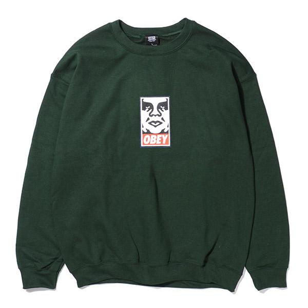 [오베이]OBEY - ICON FACE CREW NECK (FOREST GREEN) 오베이 아이콘페이스 로고 크루넥 맨투맨