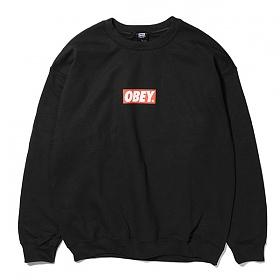 [오베이]OBEY - BAR LOGO CREW NECK (BLACK) 오베이 박스로고 크루넥 맨투맨