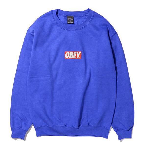 [오베이]OBEY - BAR LOGO CREW NECK (ROYAL BLUE) 오베이 박스로고 크루넥 맨투맨