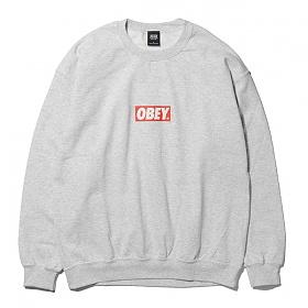 [오베이]OBEY - BAR LOGO CREW NECK (ASH) 오베이 박스로고 크루넥 맨투맨