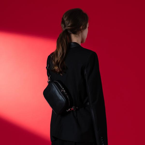 [아텀스튜디오]ATEMSTUDIO 마메 미니 크로스백 블랙 가죽 레더 크로스백 여성가방