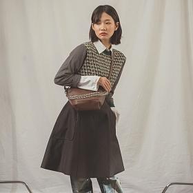 [아텀스튜디오]ATEMSTUDIO 레이 체인 숄더백 브라운 가죽 레더 토트백