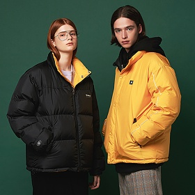 [어나더프레임] ANOTHER FRAME - PUFFY REVERSIBLE DOWN JACKET (BLACK/YELLOW) 리버시블 숏패딩 다운 점퍼