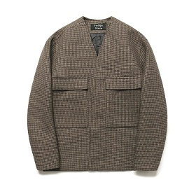 라퍼지스토어 - (Unisex) Wool Cardigan Coat_Hound tooth Check Brown