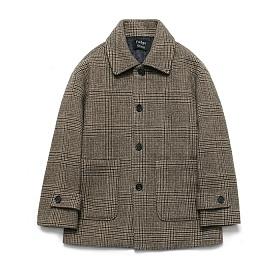 라퍼지스토어 - (Unisex) Cashmere Blend Glen Half Coat_Check