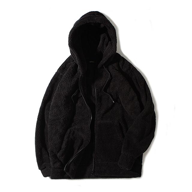[로로팝] 양털후드집업 블랙