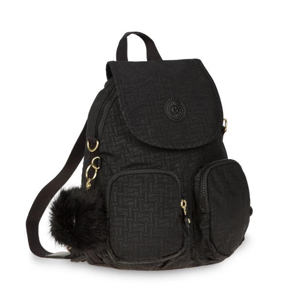 [키플링]KIPLING - FIREFLY UP Small backpack Black Pylon Emb 파이어플라이업 스몰 백팩