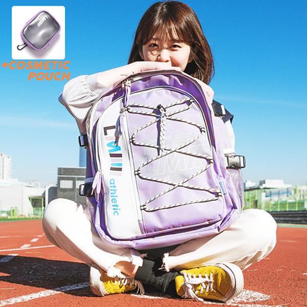 [르마인]LE MINE - LE41FPP 하프 포켓 백팩(퍼플) 스트링 학생가방
