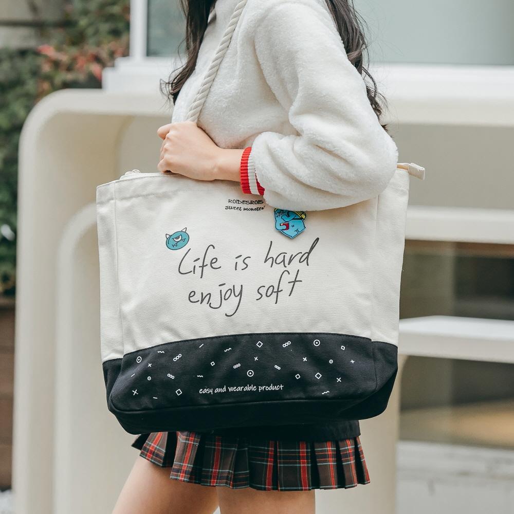 [로아드로아X스위트몬스터] SWEET SLOGAN ROPE TOTE BAG (IVORY) 로프백 토트백 크로스백 가방