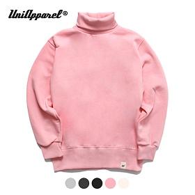 [유니어패럴] 베이직 기모 터틀넥 스웨트셔츠 핑크