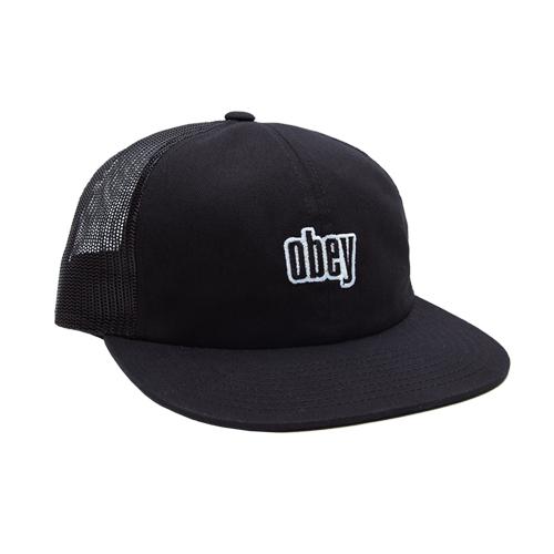 [오베이]OBEY - HIGHLAND 6 PANEL TRUCKER (BLACK) 메쉬캡 스냅백 모자