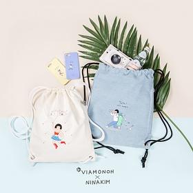 [비아모노] VIAMONOH X NINAKIM STRING BAG 2COLOR 에코백