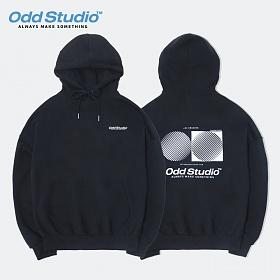 [오드스튜디오] 아티스틱 오디디 로고 후드 티셔츠 - BLACK
