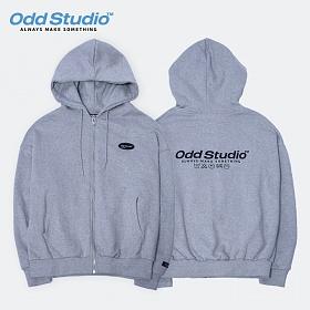 [오드스튜디오][3단쭈리원단 재입고완료]스탠다드 집업 로고 후드 티셔츠 - GRAY