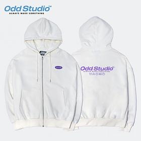[오드스튜디오] 스탠다드 집업 로고 후드 티셔츠 - IVORY