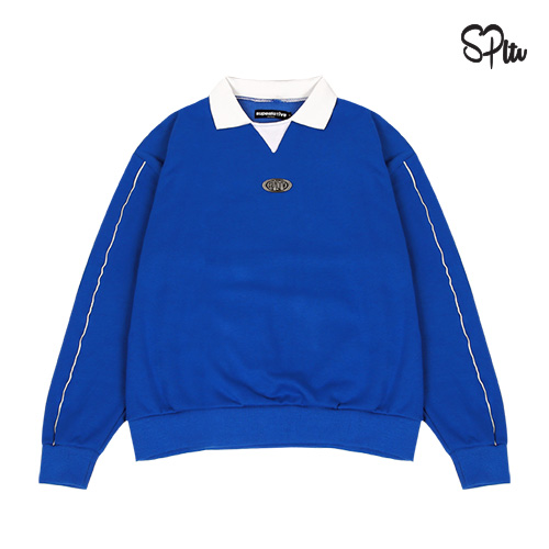 슈퍼레이티브 - CIRCLE LOGO PIPING SWEAT SHIRT - blue 맨투맨