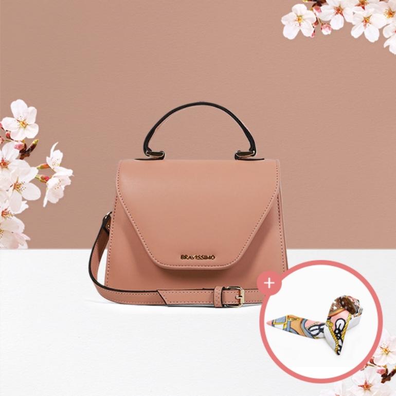 스카프증정_브라비시모 벚꽃슈아 Nude Pink 여성가방